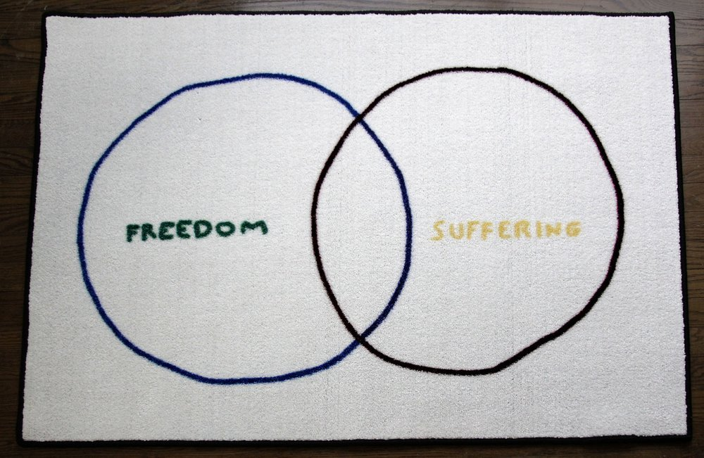 Image of Luan Joy Sherman's Freedom and Suffering, a floor mat with a digital reproduction of a hand drawn Venn diagram. Written on the left is the word freedom and on the right the word suffering.