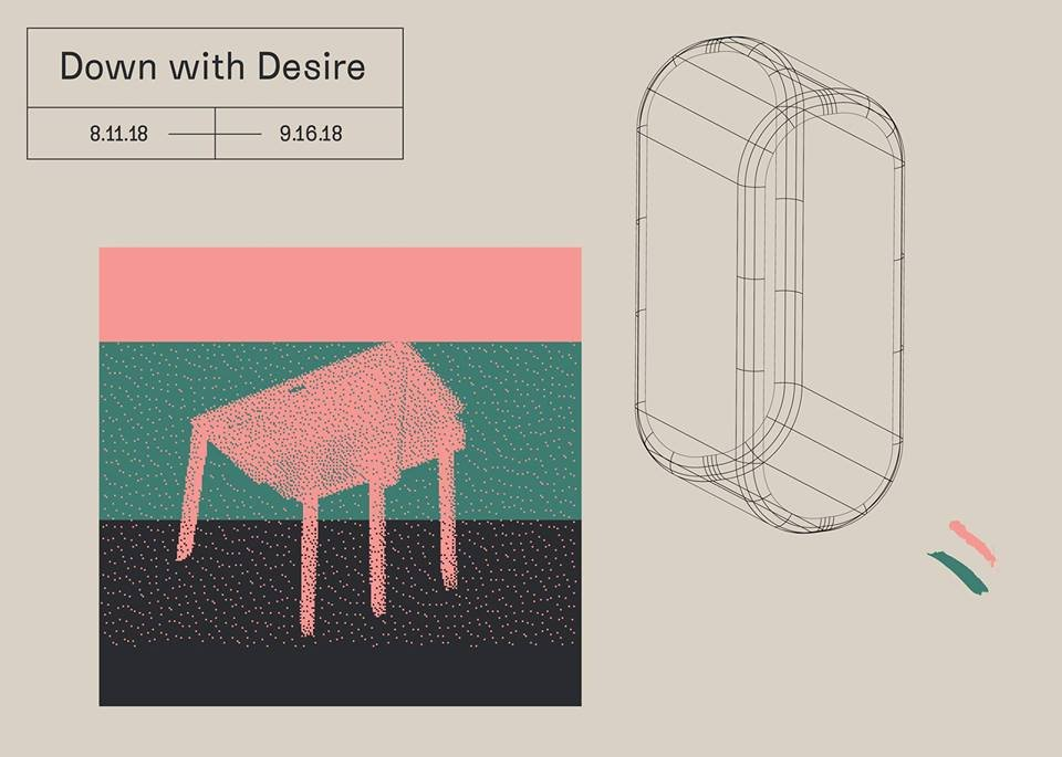 Postcard image for the exhibition Down with Desire at LVL3