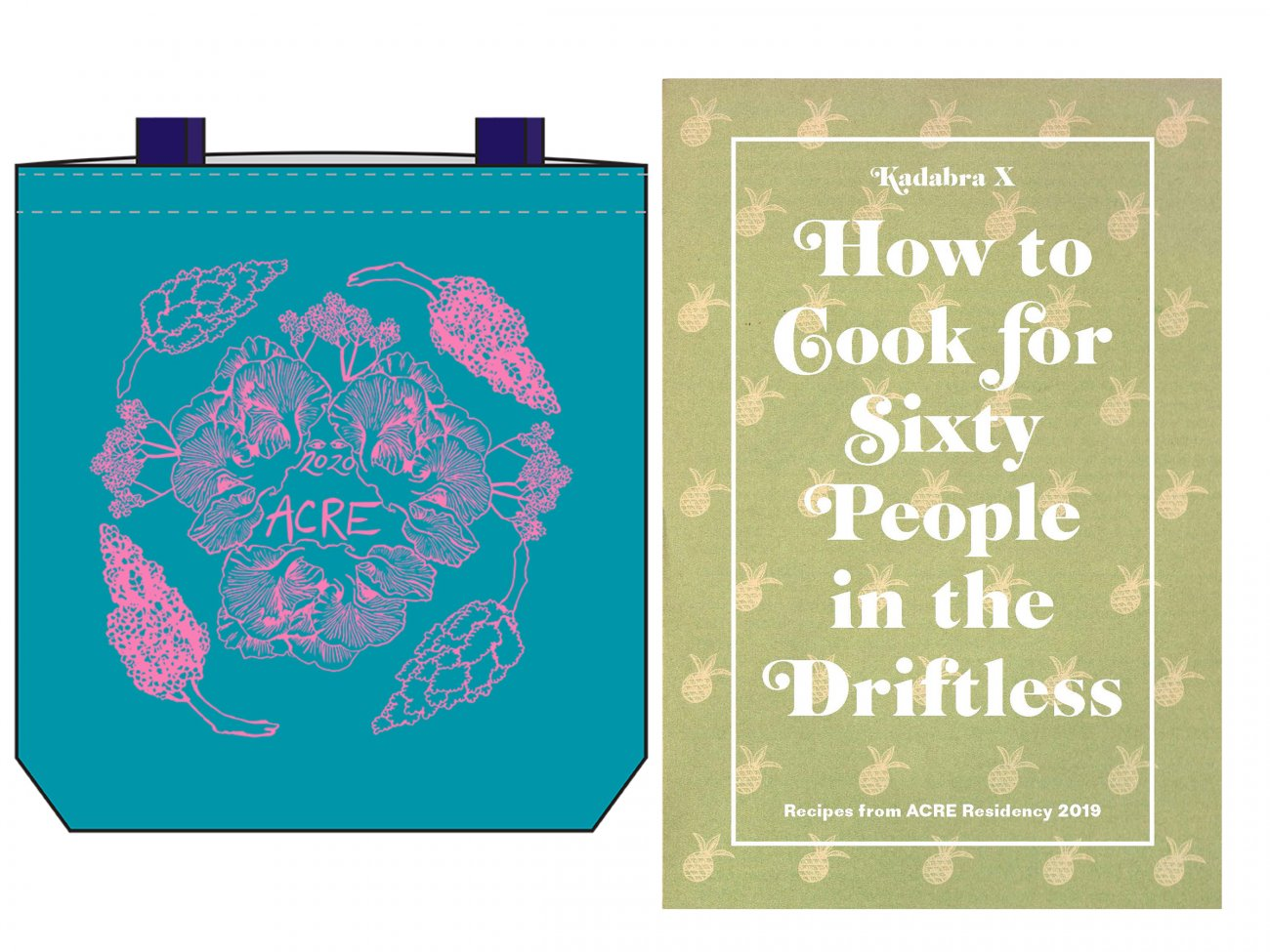 Teal ACRE totebag on left and green cookbook cover on right